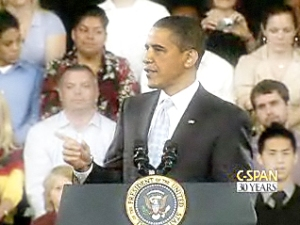"""President Obama addresses residents of Ft. Myers, Florida, declaring """"The days where we're just building sprawl forever, those days are over."""""""